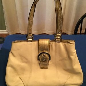Women's White Leather Coach Purse with Gold